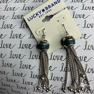 Lucky brand silver toned tassel earrings